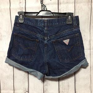 Guess USA Blue Jean Shorts Womens 27 High Waist